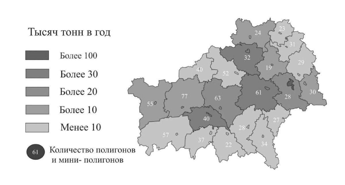 Рисунок 2 — Средние показатели образования твёрдых бытовых отходов в Гомельской области по районам [1]