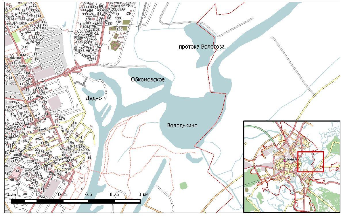 Рисунок 2 - Водоёмы Центрального района г. Гомеля